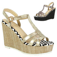 Womens Ladies Evening Party Summer Casual Wedge Sandals Ankle Strappy Shoes Size