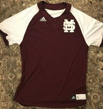 Adidas Climalite Men's Mississippi State Embroidered Shirt Maroon Hail State L