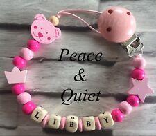 Personalised dummy clip 💗 IN LEGNO MANICHINO 💗 CATENA ⭐ Teddy, CORONA 💗 Rosa ⭐ Ragazza 💗 regalo #WWW