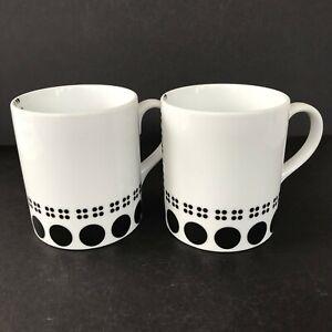 Studio Nova COLUMBUS CIRCLE BLACK Coffee Mugs Tea Cups Set of 2