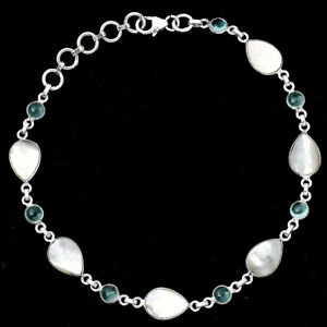 Mother Of Pearl and Sky Blue Topaz 925 Sterling Silver Bracelet Jewelry E017