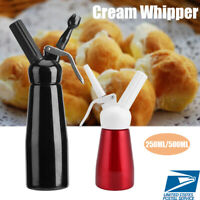 250/500ml Aluminum Whipped Dessert Cream Dispenser Whipper Foam Maker +Nozzle US