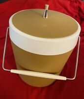 Vintage Tan & White Ice Bucket Retro Mid Century Made in USA West Bend Bar