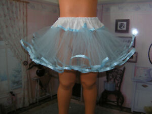 "Blue Net Slip Petticoat Ribbon Trim 36"" Doll clothes fits Ideal Patti Playpal"
