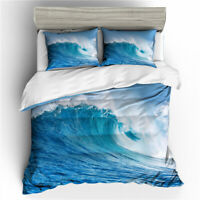 Sea Wave Blue Single/Double/Queen/King Size Bed Quilt/Doona/Duvet Cover Set