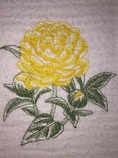 Embroidered White Kitchen Bar Hand Towel BS0954 Yellow Rose Flower Texas