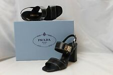 Prada Black Leather Buckle Open Toe Sandal NIM Size 37.5