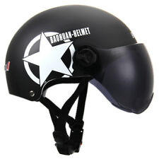 Motorcycle Bike Cruiser Helmet Half Open Face Sun Visor Adjustable Size Black