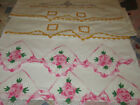 Vintage Pillowcases 2 Sets Crochet & Embroidered Pillowcase Crochet Lace