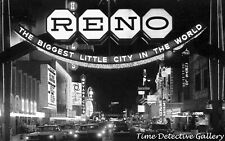 The Reno, Nevada Strip at Night - 1970s - Vintage Photo Print