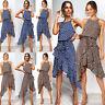 Womens Ladies Beach Dress Asymmetric Halterneck Polka Dot Holiday Midi Dress