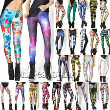 AU Womens Printed Skinny Stretch Leggings Jegging High Waist Trousers Long Pants
