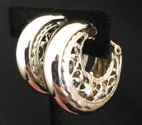Vintage Earrings Light Gold Tone Hoop Ornate Detail Classic Design Clip On 4M