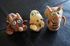 Finger Puppets Set 3 Dinosaur Stuffed Lot Plush Toys Brown Triceratops T-Rex