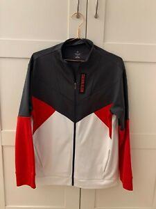 CALVIN KLEIN tri colour zip up pullover jumper size XS