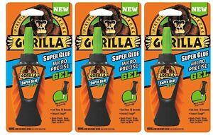 Gorilla Micro Precise Super Glue Gel No Run Control Formula Impact Tough 3 Pack