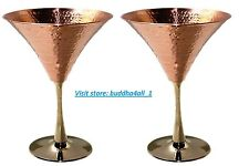 Solid Copper Martini Glass Beautifully Hammered Martini Glass holds 10 Ounce.(2)
