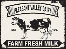 Pleasant Valley Dairy Cow Metal Sign, Farm Fresh Milk, Country, Kitchen Decor