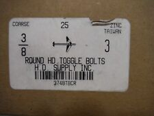 "3/8 X 3"" round head toggle bolts (25pcs) Zinc"