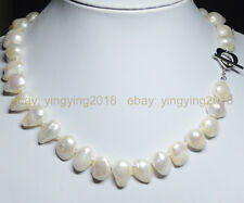 """REAL PEARL NATURAL SOUTH SEA WHITE TEARDROP BAROQUE PEARL 13X18MM NECKLACE 18"""""""