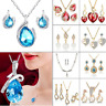 Fashion Women Crystal Waterdrop Tassel Necklace Earrings Wedding Jewelry Set