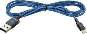 NEW Modal 4' Braided Blue / Black Nylon 8-Pin Charge Cable for iPhone Devices