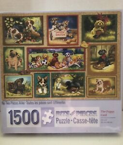 Bits And Pieces - The Puppy Card - 1500 Piece Jigsaw Puzzle - Linda Picken T-7