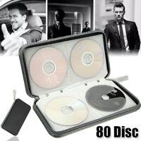 CD Case DVD Wallet Media Album Holds 80Disc Bag Organizer Portable Storage Black