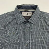Black Brown 1826 Button Up Shirt Men's XL Long Sleeve Plaid Elbow Patch Casual