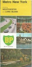 1970 BP OIL Road Map METROPOLITAN NEW YORK Westchester County Long Island Nassau