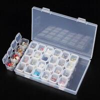 HD_ 2Pcs 28 Slots Clear Plastic Jewelry Storage Box Beads Case Organizer Tool We