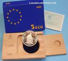 1991  5  ECUS - ECU -1 ONZA - SILVER -  PLATA -AVERROES - ESPAÑA- EUROPA-