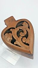 Victorian Welsh carved wooden treen heart shaped sweetheart box