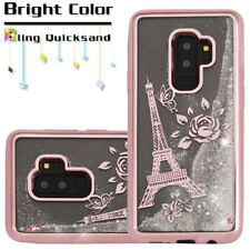 For Samsung Galaxy S9+ PLUS - Rose Gold Paris Eiffel Tower Glitter Liquid Case