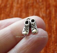 8 Shoe Charms for Bracelet, Sneakers Boot Pendant Necklace Supplies Silver Tone