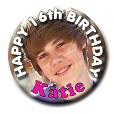 JUSTIN BIEBER BIRTHDAY BADGE - 58mm - ANY NAME, ANY AGE
