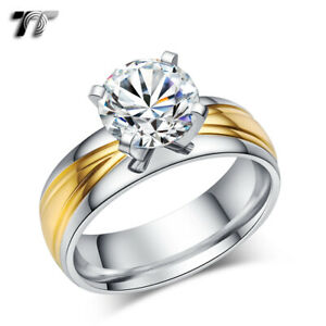 TT Stainless Steel Two Tone Gold Wedding Band Comfort fit Ring (R316)