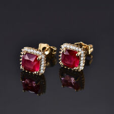 HUCHE Retro Red Sapphire Ruby Garnet 24K Gold Filled Lady Party Wedding Earrings
