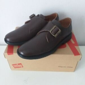 Fitflop Mens Hagen Brown Leather Monk Strap Shoes Size 8 New In Box