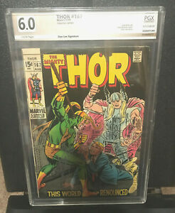 Marvel Comics Thor #167 signed by Stan Lee, PGX 6.0, PGX COA, Silver Age, Kirby