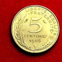 #1792 - RARE - 5 centimes 1966 Marianne SUP/SPL FACTURE