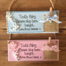 Tooth Fairy Plaque Sign With Tooth Collection Bag