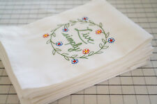 Set of 6 x Tea Towels Table Cloth Napkins premium embroidery 100% Cotton 70x45cm