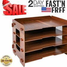 Wooden File Organizer Rack Desktop File 4 Tray For Office Storage Paper Desk