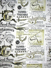 Sewing Seeds II Sew Garden Seed Ads Ecru Cotton Fabric QT Wecker Frisch - Yard
