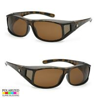 7cbdedfe1cd POLARIZED cover put over Sunglasses wear Rx glass fit driving SIZE LARGE  Tortois