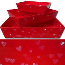 Valentine's Day Gift Basket Hamper Cardboard Trays - RED LOVE HEARTS - Set of 10