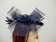 FASCINATOR HAT Ladies Cocktail BLACK Derby Race Hats Man Made Horsehair