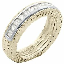 14K GOLD EP 1.3CT DIAMOND SIMULATED ANNIVERSARY RING size 8 or Q