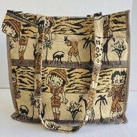BETTY BOOP Safari Medium Tote Bag w/ Coin Purse Tapestry Canvas Woven